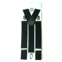 BLACK SUSPENDERS 1 3/8 INCH WIDE