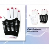 FINGERLESS GLOVES WITH SLITS IN BLACK AND WHITE