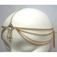 DIAMOND SHAPE WITH DROPS HEAD CHAIN IN GOLD