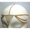 7 LINE RHINESTONE DROP FRONT HEAD CHAIN IN GOLD