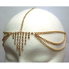 7 LINE RHINESTONE DROP FRONT HEAD CHAIN IN GOLD 1 PIECE ONLY