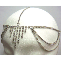 7 RHINESTONE LINES HEAD CHAIN IN SILVER COLOR
