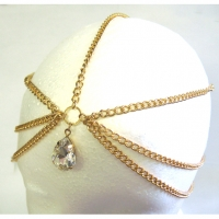 1 LARGE RHINESTONE DROP HEAD CHAIN IN GOLD