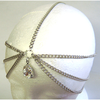 1 LARGE RHINESTONE GEM HEAD CHAIN IN SILVER