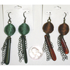 FABRIC BALL, CHAINS, AND ELONGATED PIECE FALL COLOR EARRINGS