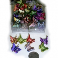 4 DZ PER BOX, MINI BUTTERFLY HAIR CLIPS, COOL COLORS