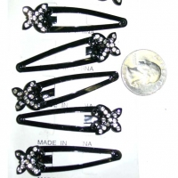 BUTTERFLY HAIR CLIPS, CLEAR GEMS