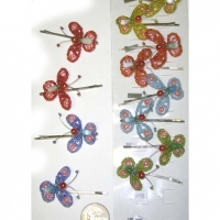 BUTTERFLY HAIR CLIP, BEADS IS ASSORTED COLORS