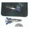 BUTTERFLY HAIR CLIP, BLUE/GREEN GEMS