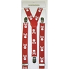 SMALLER SKULL & CROSS BONES RED SUSPENDERS