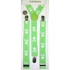 SMALLER SKULLS & CROSS BONES LIME COLOR/WHITE SKLS SUSPENDERS
