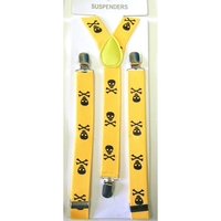 SMALLER SKULLS & CROSS BONES YELLOW W/ BLACK SKLS SUSPENDERS