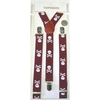 SMALLER SKULLS & CROSS BONES MAROON SUSPENDERS