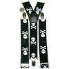 LARGE SKULL & CROSS BONES BLACK SUSPENDERS