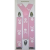 LARGER SKULLS & CROSS BONES PINK SUSPENDERS
