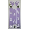 LARGER SKULLS & CROSS BONES LAVENDER SUSPENDERS