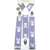 LARGER SKULLS & CROSS BONES ON LILAC SUSPENDERS