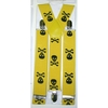 LARGER SKULLS & CROSS BONES YELLOW SUSPENDERS