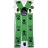 LARGER SKULLS & CROSS BONES GREEN SUSPENDERS