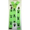 LARGER SKULL & CROSS BONES LIME SUSPENDERS