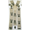 LARGER SKULL & CROSS BONES BEIGE SUSPENDERS