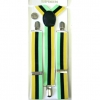 GREEN, BLACK & YELLOW STRIPE SUSPENDERS