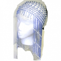 BEADED HEAD PIECE- LAVENDER SMALL BEADS, WHITE LARGER BEADS