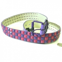 CHECKERBOARD PURPLE & PINK STUDS BELT