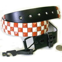 CHECKERBOARD ORANGE & WHITE STUDS BELTS