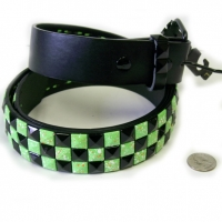 CHECKERBOARD GREEN W/ SPLARRER & BLACK STUDS BELTS