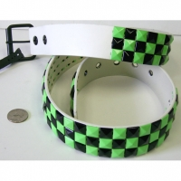 CHECKERBOARD GREEN(NEON) & BLACK STUDS BELTS