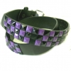 CHECKERBOARD PURPLE & BLACK STUD BELT