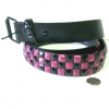 CHECKERBOARD PINK W/ SPLATTER & BLACK STUDS BELTS