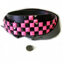 CHECKERBOARD HOT PINK & BLACK STUDS  BELTS