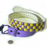 CHECKERBOARD PURPLE & YELLOW STUDS BELTS