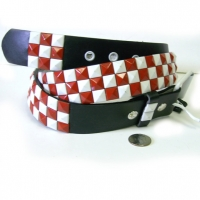 CHECKERBOARD RED & BLACK STUD BELTS