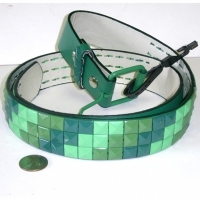 GREENISH STUDS BELT, 3 SHADES