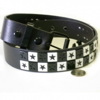 BLACK & WHITE STARS STUD BELTS