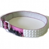 WHITE STUDS ON A PINKISH METALLIC BELT