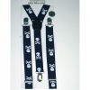 SMALLER SKULLER & CROSSBONES SUSPENDERS, NAVY BLUE