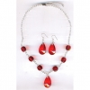 GEM NECKLACE AND EARRING SET ON A CRYSTAL NECKLACE 6 COLORS