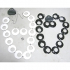 GO GO BELT & EARRING SET, WHITE AND BLACK