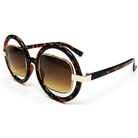 METAL FRAMES RECTANGLE SHAPE IN A PLASTIC ROUND RING SUNGLASSES
