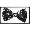 PEACE SIGN BOW TIE IN BLACK WITH WHITE PEACE SIGN.