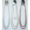 2 LINE PEARL GLASS BEAD NECKLACE & EARRING SET