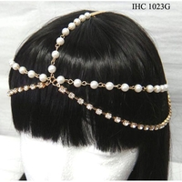 RHINESTONE & PEARL LINE  HEAD JEWELRY IN GOLD COLOR