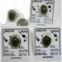 MOOD RINGS 4 ASSORTED STYLES, SILVER, ADJUSTABLE BAND