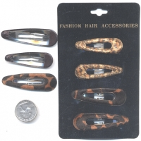 4 HAIR CLIPS PER CARD LEOPARD
