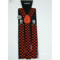 CHECKERBOARD RED/BLACK 1 INCH WIDE SUSPENDERS