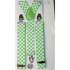 "CHECKERBOARD PRINT SUSPENDERS  1.5"" WIDE WHITE/HOT GREEN"